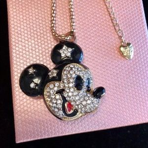 Mickey Mouse Necklace Gold Crystals 28 inches